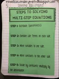 solving multi step equations notes pdf