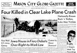 Image result for three of the most popular rock and roll artists in the United States die in a plane crash