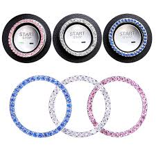 Pink 3 Pack Bling Car Decor Rhinestone Ignition Starter Bling For Buttons Keys Knobs Pink Crystal Car Bling Ring Emblem Stickers Interior Crystal Car Accessory Metal Car Emblem Decal