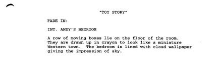 visual writing in a script