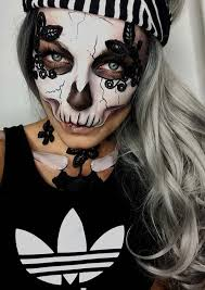 half skull halloween makeup idea