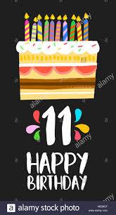 Feliz Cumpleanos Numero 11 Tarjeta De Felicitacion Para Once Anos