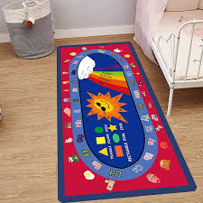 Abc Alphabet Numbers Educational Runner Rug Kids Room Bedding Floor Rug Kids Room Decor Color Navy Blue Dark Blue Purple Wish