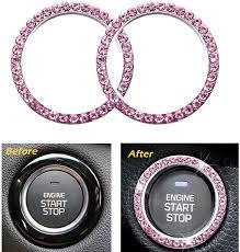 Amazon Com 2pcs Crystal Rhinestone Ring For Car Interior Decoration Auto Engine Start Stop Decoration Crystal Ring Decal For Vehicle Ignition Button Pink Automotive