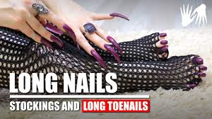 scratching stockings with long nails