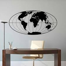 World Map Wall Decal Planet Earth Geographical Globe Vinyl Self Adhesive Wall Sticker Art Home Decor For Office Living Room 3219 Wall Stickers Aliexpress