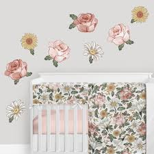 Vintage Floral Boho Peel And Stick Wall Decal Stickers Art Nursery Decor By Sweet Jojo Designs Set Of 4 Sheets Blush Pink Yellow Green And White Shabby Chic Rose Flower