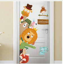 Amazon Com Buzdao Cartoon Animals Welcome Wall Stickers Living Room Bedroom Kids Room Door Decor Wallpaper Vinyl Wall Decals Art Home Decoration Kitchen Dining