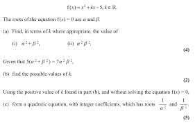quadratic roots bsb igcse further maths