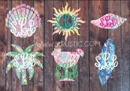 Lilly Pulitzer Inspired Summer Monogram Decal Palm Tree Monogram Surf Slrustic