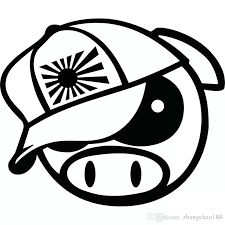 2020 15 5 13cm Funny Angry Rally Pig With Japan Hat Cartoon Vinyl Decal Car Sticker Black Silver Ca 1285 From Zhangchao188 0 34 Dhgate Com