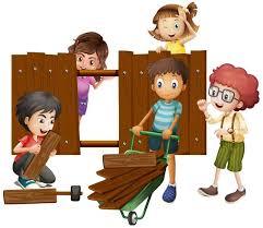 Children Building Wooden Fence Download Free Vectors Clipart Graphics Vector Art
