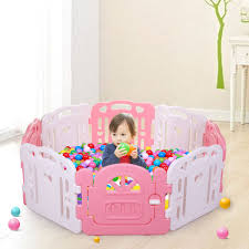 Tobbi Baby Playpen Pink Baby Play Yards Fence 8 Panel Activity Center Safety Play Yard Home Indoor Outdoor W Gate Walmart Com Walmart Com