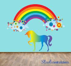Unicorn Rainbow Wall Decal Girls Decal Unicorn Rainbow Etsy