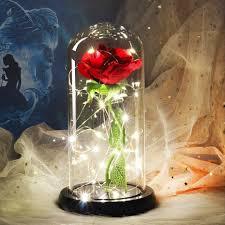 دروبشيبينغ الجمال والوحش وردة حمراء في قبة زجاجية مع مصباح ليد