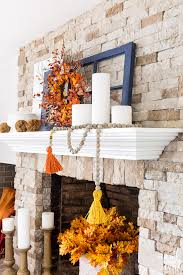 decorate your fall fireplace mantel