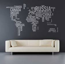 Geo Typographies World Map Wall Stickers Made Of Words Designs Ideas On Dornob