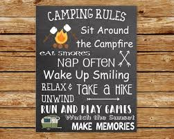 Camp Rules Sign Camping Rules Printable Wall Art Glamp Etsy