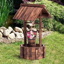 wooden wishing well outdoor ornament