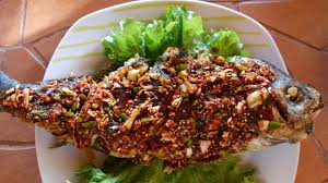 Korean style fried snapper with ...