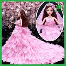 Búp Bê Cô Dâu Xinh Đẹp Váy Hồng Tặng Phụ Kiện Kèm Theo