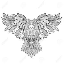 Eagle Owl Adult Antistress Coloring Page Black White Hand Drawn