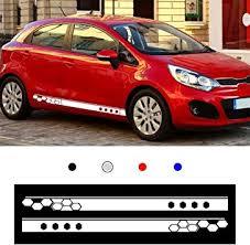 Amazon Com 2pcs For Kia Rio Car Color Vinyl Sports Racing Decal Diy Body Sticker Side Decal Stripe Decals Suv Vinyl Graphic White Automotive