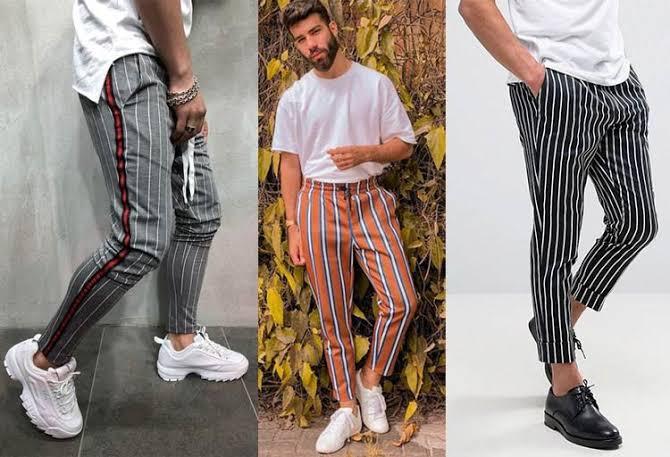 Resultado de imagem para calça listras verticais homem