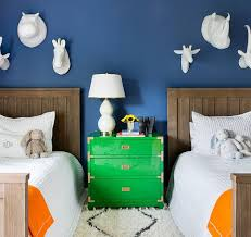 Papier Mache Animal Heads On Wall Transitional Boy S Room