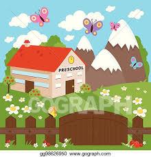 Vector Illustration Preschool Building In A Beautiful Landscape Vector Illustration Eps Clipart Gg98626950 Gograph