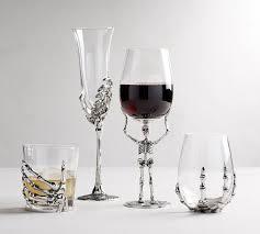skeleton wine glasses pottery barn