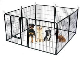 Wire Pen Dog Fence Playpen 8 Panel 30 Square Feet Play Yard Pet Dogs Cats Outdoor Exercise Pens Tube Gate W Door Heavy Duty Portable Folding Metal Animal Cage Corral Tall Fences