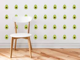 Amazon Com Mini Avocados Pattern Fabric Wall Decal Set Of 32 Mini Avocados Fruit Shaped Wall Decor Perfect For Living Room Bedroom Bathroom Office Home Decoration Baby