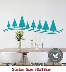 Christmas Tree Line Holiday Wall Vinyl Decal Xmas Sticker Wallpaper Party Gift Home Decor Wallpapers Aliexpress