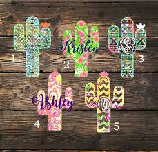 Lilly Inspired Cactus Decal Custom Monogram Name Size Color Car Yeti Tumbler Wall Sticker Cute Car Decals Monogram Vinyl Decal Monogram Decal