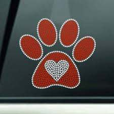 6 Rhinestone Paw Print Car Decal Sticker Large Paw Etsy