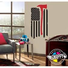 Thin Red Line Firefighter Axe Flag Wall Decal Display Vertical Or Horizontal Wall Decor Wal Snappy Photo Gifts