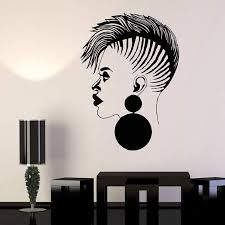 Amazon Com Beauty Salon Beauty Salon Female African Black Lady Stickers Barber Shop Sign In Showcase Store Logo Kitchen Dining