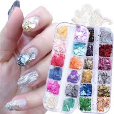 Amazon Com 2 Boxes Gold Foil Nail Art Decals 3d Nail Art Supplies Holographic Nail Glitters Sequins Irregular Abalone Seashell Slices Nail Flakes Glitter Nail Art Design Manicure Tips Nails Decoration Kit