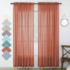 Burnt Orange Red Curtains Linen Textured For Girls Bedroom 96 Inches Long Set 2 Panels Airy Terracotta