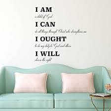 Amazon Com Charlotte Mason Wall Decal I Am I Can I Ought I Will Religious Wall Decorations Vinyl Wall Decal For Home Decor Homeschool Or Church Decoration Handmade