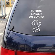 Amazon Com Best In Auto Happy Baby On Board Decal Future Singer Vinyl Sticker 6 Inches Rear Window White Car Truck Van Suv Automotive