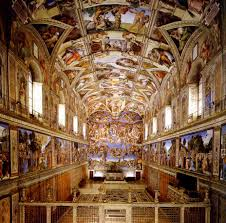 the sistine chapel with frescos by the