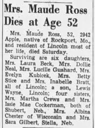 Obituary-Maude (West) Ross. Mother of Evelyn Mae (Ross) Kubicek. -  Newspapers.com
