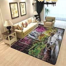 Amazon Com Waterfall Decor Collection Kids Living Room Carpet Colorful Forest Bush Feigned Stream Trees Grass Photography Bedroom Girl Living Room Home Decor Rug Magenta Green Ivory W3xl5 Feet Kitchen Dining