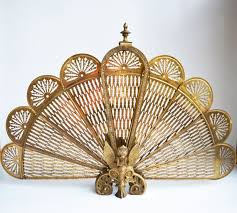 vintage brass fireplace screen winged