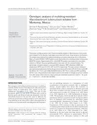 PDF) Genotypic analysis of multidrug-resistant Mycobacterium tuberculosis  isolates from Monterrey, Mexico | Edward A Graviss - Academia.edu