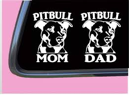 Amazon Com Pitbull Mom Pitbull Dad Tp 329 Sticker 6 Decals Pit Bull Rescue Dog Collar Handmade
