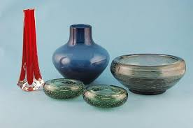 3 1950s whitefriars green glass bubble