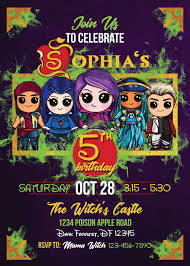 Descendants 2 Printable Invitations Descendants 2 Birthday Party